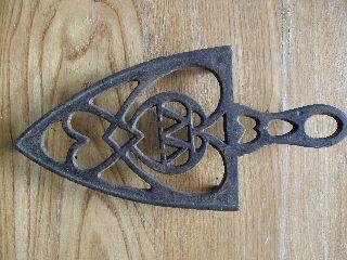 Antique Cast Iron Trivet Sad Handle Letter W M Vintage Primitive Rustic Vtg photo