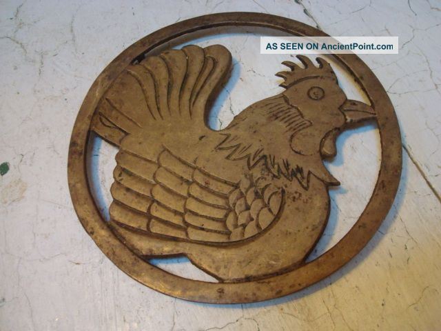 Antique Rooster Or Chicken Brass Trivet Trivets photo