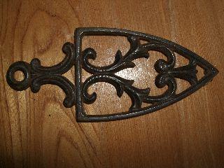 Antique Cast Iron Trivet Handle Metal Sad Country Vintage Primitive Rustic Vtg photo