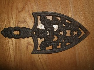 Antique Cast Iron Trivet Handle Metal Sad Country Vintage Primitive Rustic Vtg photo