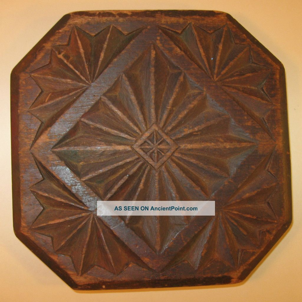 19th Century Chip - Carved Wooden Trivet With Geometric Designs Trivets photo