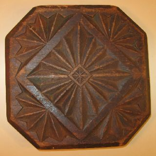 19th Century Chip - Carved Wooden Trivet With Geometric Designs photo