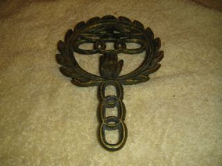 Antique Wilton Brass Trivet Heart In Hand - 7 And 1/2