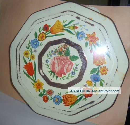 Vintage French Shabby Trivet W/ Garland Of Flowers & Rose Trivets photo