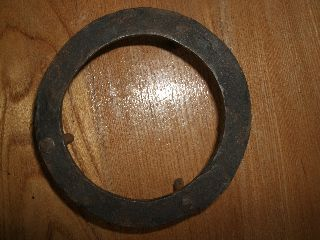 Antique Cast Iron Trivet Sad Round Hand Forged Vintage Primitive Rustic Country photo