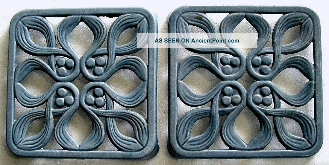 French Enamelware Trivet Pair 2 Rare Matching Art Nouveau Onion Bulb Blue Trivets photo
