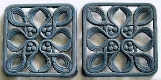 French Enamelware Trivet Pair 2 Rare Matching Art Nouveau Onion Bulb Blue photo