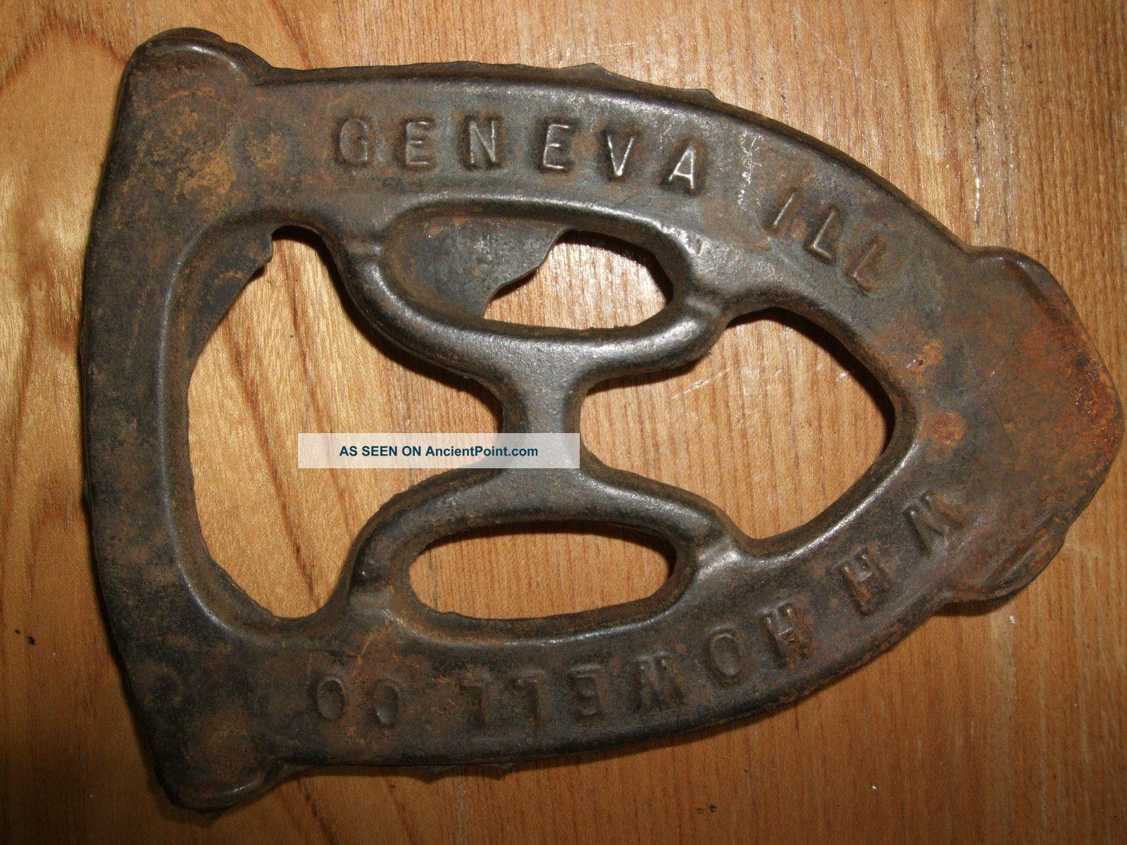 Antique Cast Iron Trivet Sad W H Howell Co Geneva Illinois Vintage Primitive Trivets photo