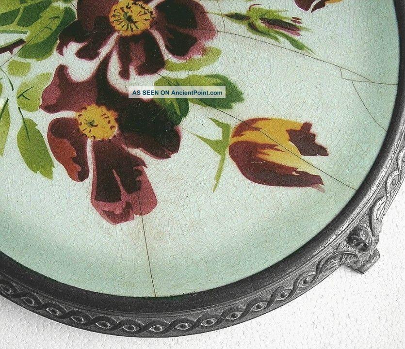 French Table Trivet Art Nouveau Porcelain Spelter Metal Angels Flowers Trivets photo
