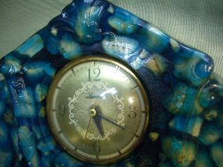 Rare Vtg 60s Lawrence Electric Mantle Clock Country Cottage Lucite Resin Rocks? photo