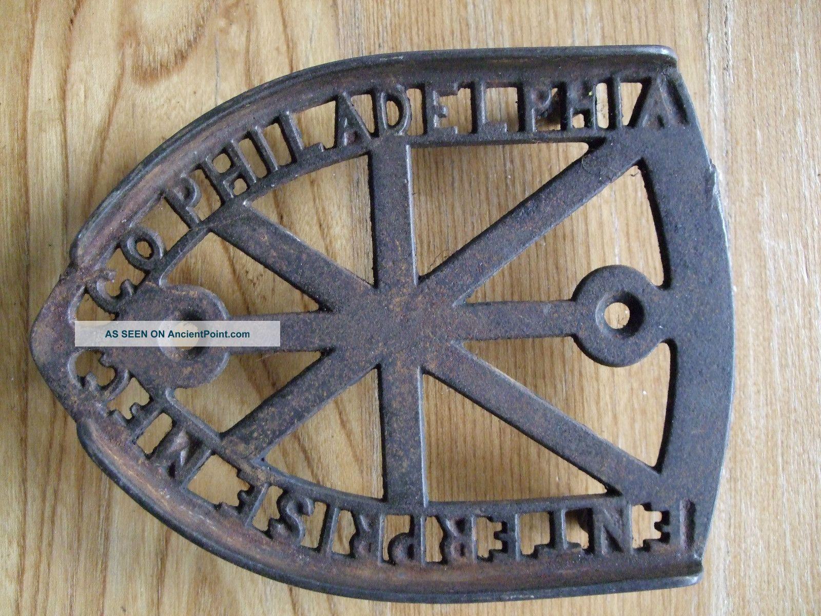 Antique Cast Iron Trivet Sad Enterprise Mfc Co Philadelphia Vtg Primitive Rustic Trivets photo