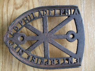 Antique Cast Iron Trivet Sad Enterprise Mfc Co Philadelphia Vtg Primitive Rustic photo