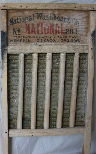 National Washboard 801 The Brass King Top Notch Soap Saving Vintage Wood Wooden photo