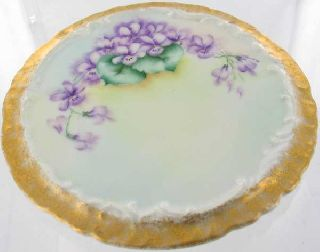 Antique Victorian Handptd Tender Violet China Trivet photo