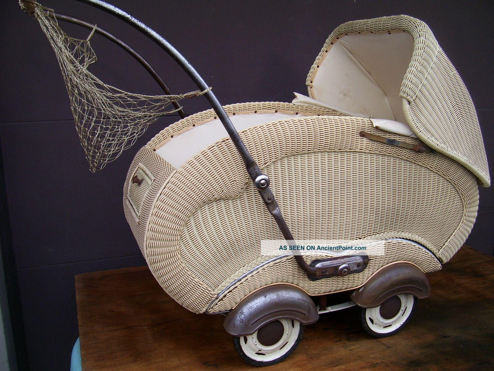 Midcentury Modern German Design Plastic Wicker Buggie Convertable Baby Stroller Baby Carriages & Buggies photo