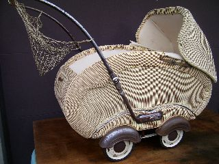 Midcentury Modern German Design Plastic Wicker Buggie Convertable Baby Stroller photo
