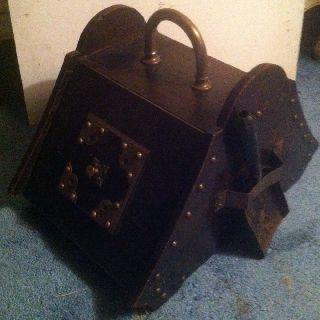 Vintage Antique Wooden Coal Scuttle Box & Scoop Hod Tinder Ash Box photo