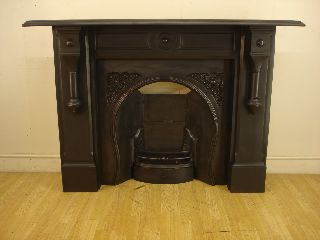 Stunning Victorian Slate And Cast Iron Fireplace Mantel photo