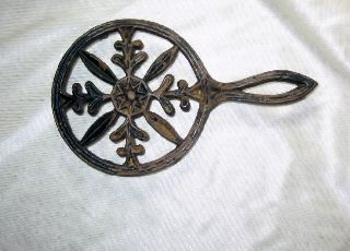 Antique Virginia Master Cast Iron Trivet Star Center Jamestown Va. photo
