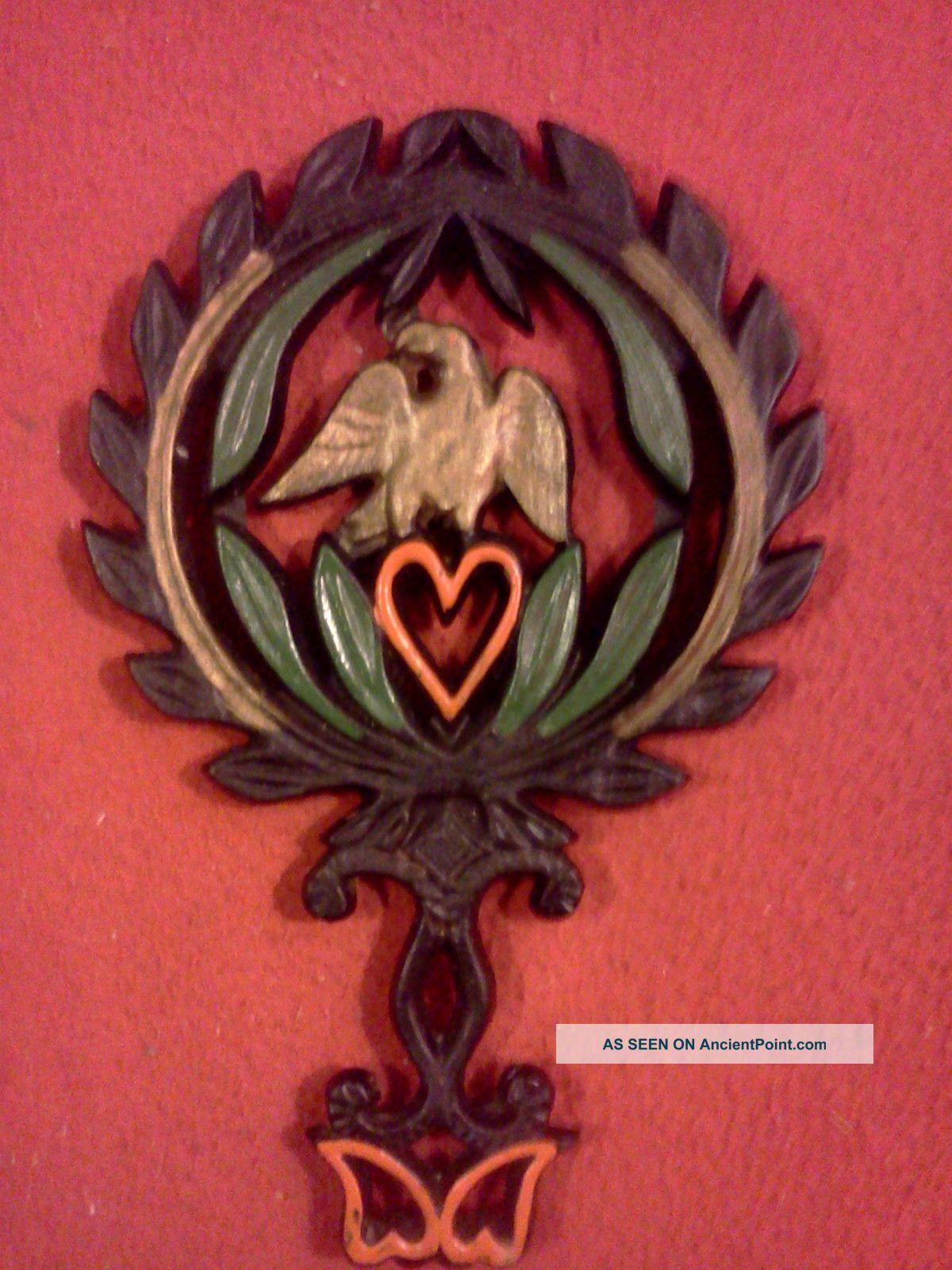 Estate Find Antique 1949 Cast Iron Eagle / Heart Trivet J.  Z.  H Hand Painted Rare Trivets photo