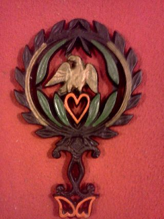 Estate Find Antique 1949 Cast Iron Eagle / Heart Trivet J.  Z.  H Hand Painted Rare photo