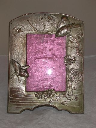 Aesthetic Japanese Photo Frame Birds Foliage C1890 Silver On Copper photo