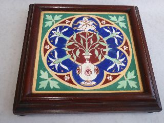 Pugin Style Large Tile Teapot Stand In Mahogany Frame Circa 1880 photo