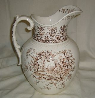 Antique J.  H.  Weatherby Aesthetic Orleans Brown Transferware Wash Water Pitcher photo