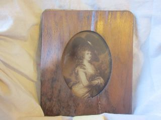 Antique Wood Veneer Picture Frame Woman Picture Print Oval Opening photo