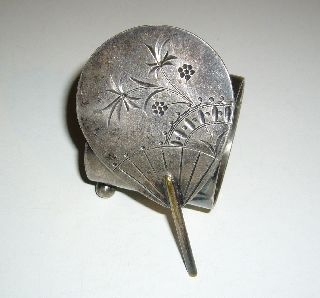 Antique 1882 Victorian Era Silverplate Aesthetic Oriental Fan Napkin Ring Holder photo