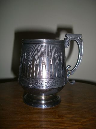 Antique Silverplate Aesthetic Movement Victorian Cup Or Mug By B J Mayo photo