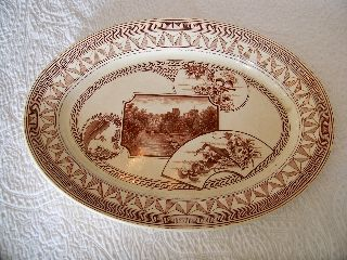 Antique Jd & Co.  Warwick Castle Stag Aesthetic Transferware Large Platter photo