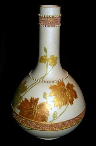 Haynes Severn Ware Ghooleh Bottle Grey Gilt Leaves photo