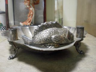 Antique Silver Plate Arts & Craft Deco Candle Fish Shell Footed Bowl Old Patina photo