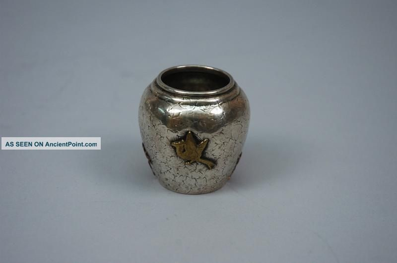 Dominick And Haff American Sterling Silver Mixed Metal Jar Aesthetic 1879 Mustard Pots photo