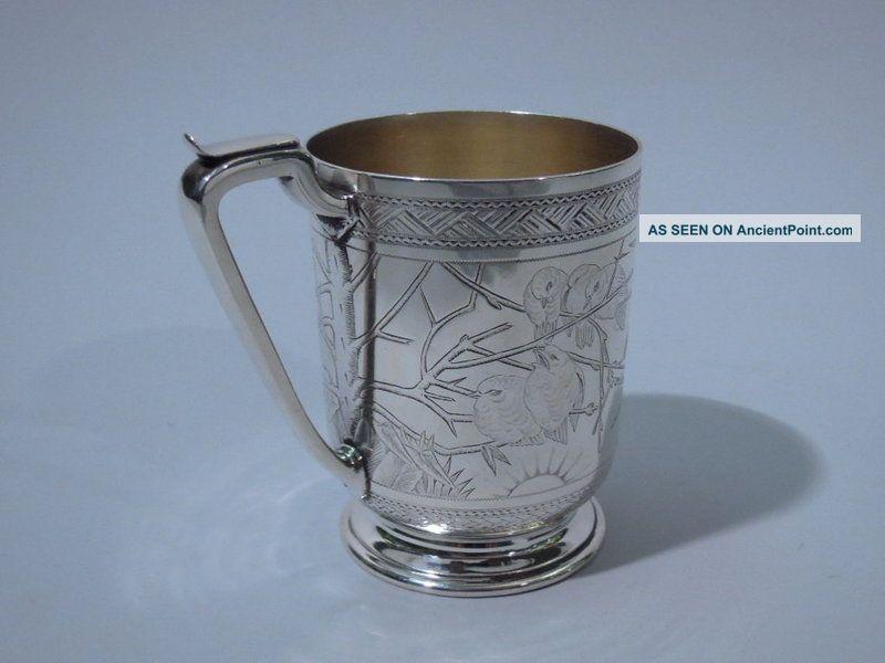 English London Sterling Silver Mug Cup Victorian Aesthetic Japonisme 1878 United Kingdom photo