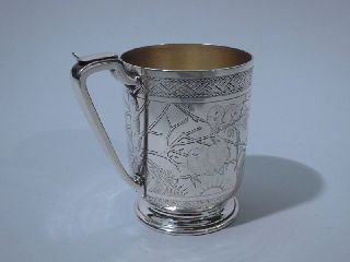 English London Sterling Silver Mug Cup Victorian Aesthetic Japonisme 1878 photo