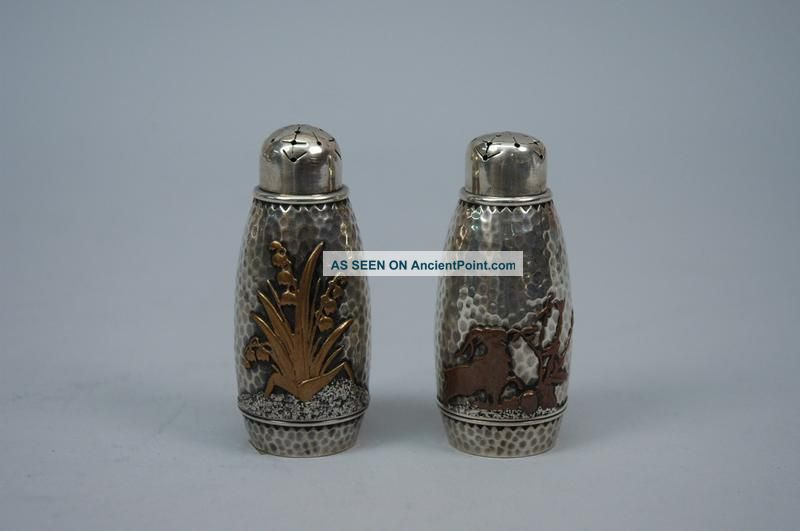 Pair Gorham American Sterling Silver Metal Salt Pepper Shakers C 1880 Salt & Pepper Shakers photo