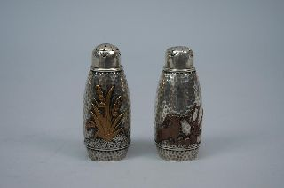 Pair Gorham American Sterling Silver Metal Salt Pepper Shakers C 1880 photo