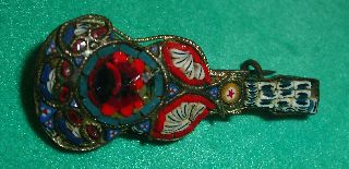 Antique Micro Mosaic Brooch Colored Glass Tiles Lyre Or Guitar photo