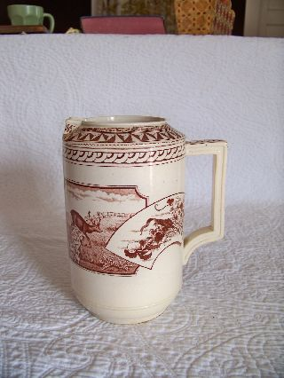 Antique Jd & Co.  Warwick Castle Stag Aesthetic Transferware Water Pitcher photo