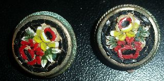 Antique Micro Mosaic Clip On Earrings Colored Glass Tiles photo