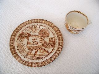 Antique Jd & Co.  Warwick Castle Aesthetic Transferware Cup And Pie Plate photo