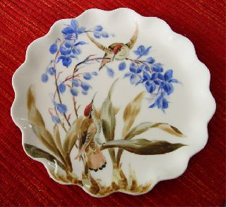 Beautifully Handpainted Victorian 19th Century Wavy Edge English Porcelain Plate photo