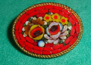 Vtg Micro Mosaic Brooch Colored Glass Tiles Flowers Italy photo