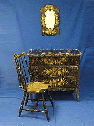 Whimsical Painted & Decorated Bedroom Set In Black Polychrome & Mother Of Pearl photo