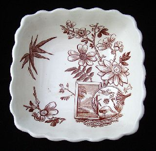 Aesthetic Brown Transferware Waste Bowl - Great Herons 1888 photo