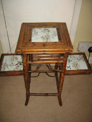 Aesthetic Movement Victorian 3 Tier Bamboo Plant Stand With Tile Inset. photo