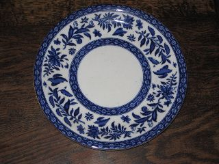 Fine English Blue & White 19th Century Large Plate Aesthetic Style photo