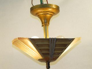 Vtg Antique Art Deco Glass Slip Shade Aluminum Chandelier Ceiling Light Fixture photo